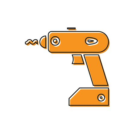 Orange Electric cordless screwdriver icon isolated on white background. Electric drill machine. Repair tool. Vector Illustration