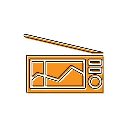 Orange Radio with antenna icon isolated on white background. Vector Illustration 向量圖像