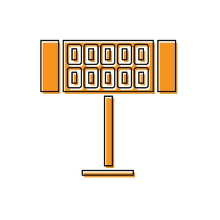 Orange Electric heater icon isolated on white background. Infrared floor heater with remote control. House climate control. Vector Illustration Ilustração