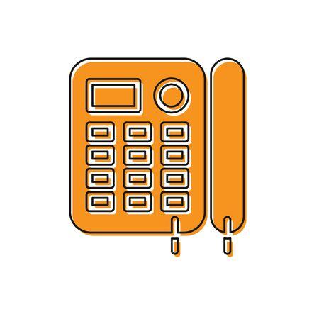Orange Telephone icon isolated on white background. Landline phone. Vector Illustration