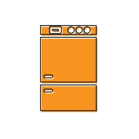 Orange Refrigerator icon isolated on white background. Fridge freezer refrigerator. Household tech and appliances. Vector Illustration