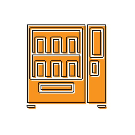 Orange Vending machine of food and beverage automatic selling icon isolated on white background. Vector Illustration