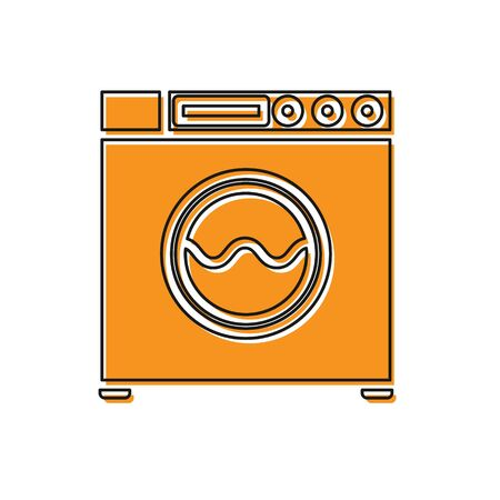 Orange Washer icon isolated on white background. Washing machine icon. Clothes washer - laundry machine. Home appliance symbol. Vector Illustration Ilustração