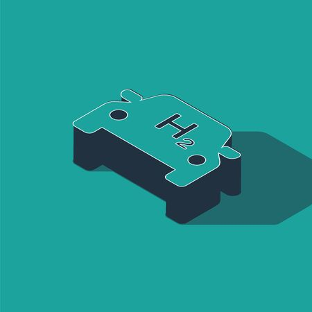 Isometric Hydrogen car icon isolated on green background. H2 station sign. Hydrogen fuel cell car eco environment friendly zero emission. Vector Illustration  イラスト・ベクター素材