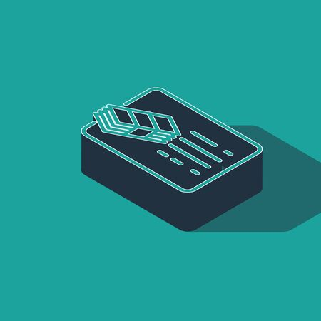Isometric Financial document line icon isolated on green background. Invoice and money icon. Budget planning, money saving and paying debt concept. Vector Illustration