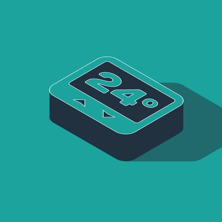 Isometric Thermostat icon isolated on green background. Temperature control. Vector Illustration