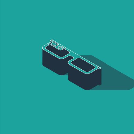 Isometric Smart glasses mounted on spectacles icon isolated on green background. Wearable electronics smart glasses with camera and display. Vector Illustration