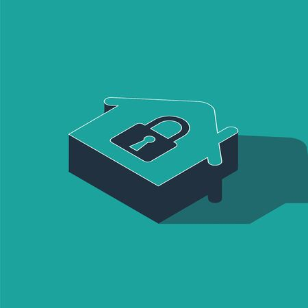 Isometric House under protection icon isolated on green background. Home and lock. Protection, safety, security, protect, defense concept. Vector Illustration 向量圖像