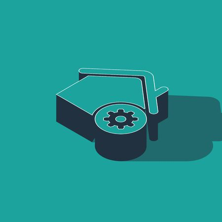Isometric Smart home settings icon isolated on green background. Remote control. Vector Illustration