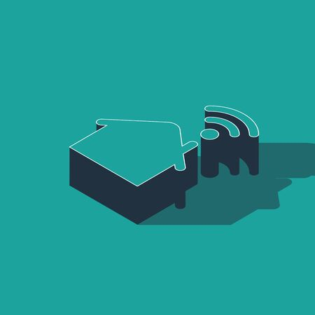 Isometric Smart home with wi-fi icon isolated on green background. Remote control. Vector Illustration