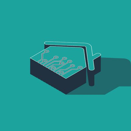 Isometric Smart home icon isolated on green background. Remote control. Vector Illustration Ilustracja