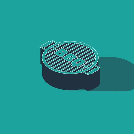 Isometric Barbecue grill icon isolated on green background. Top view of BBQ grill. Steel grid. Vector Illustration