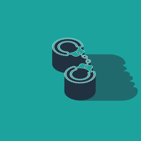 Isometric Sexy fluffy handcuffs icon isolated on green background. Handcuffs with fur. Fetish accessory. Sex shop stuff for sadist and masochist. Vector Illustration Ilustração