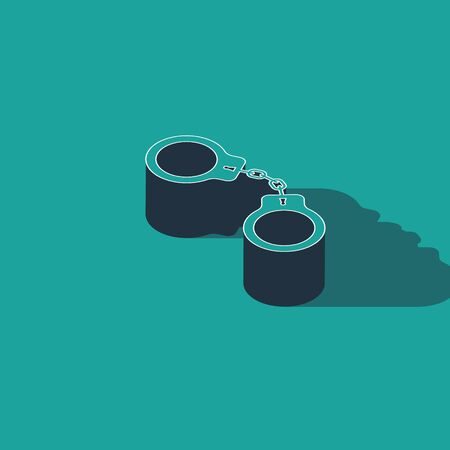 Isometric Handcuffs icon isolated on green background. Vector Illustration