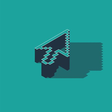 Isometric Pixel arrow cursor icon isolated on green background. Vector Illustration