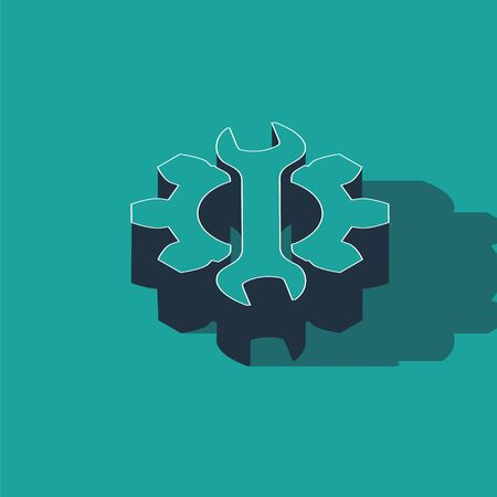 Isometric Wrench and gear icon isolated on green background. Adjusting, service, setting, maintenance, repair, fixing. Vector Illustration Illustration