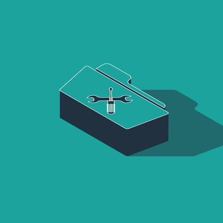Isometric Folder with screwdriver and wrench icon isolated on green background. Adjusting, service, setting, maintenance, repair, fixing. Vector Illustration Illustration