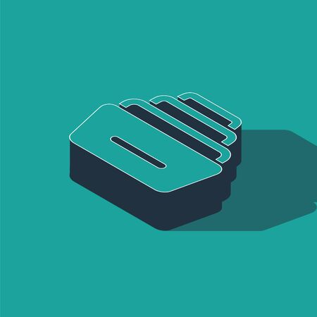 Isometric Drawer with documents icon isolated on green background. Archive papers drawer. File Cabinet Drawer. Office furniture. Vector Illustration Ilustracja