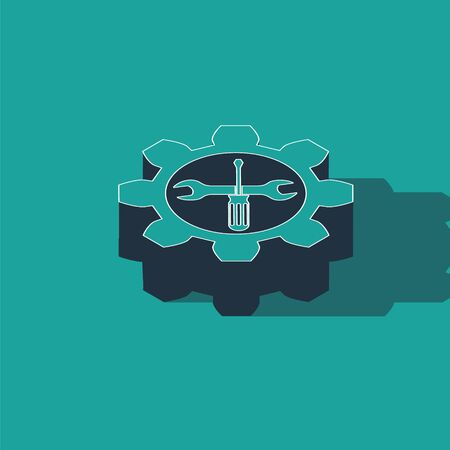 Isometric Maintenance symbol - wrench and screwdriver in gear icon isolated on green background. Service tool symbol. Vector Illustration