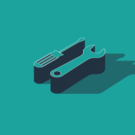 Isometric Screwdriver and wrench tools icon isolated on green background. Service tool symbol. Vector Illustration