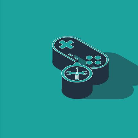 Isometric Gamepad with screwdriver and wrench icon isolated on green background. Adjusting, service, setting, maintenance, repair, fixing. Vector Illustration 向量圖像