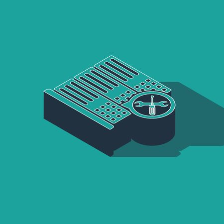 Isometric Database server with screwdriver and wrench icon isolated on green background. Adjusting, service, setting, maintenance, repair, fixing. Vector Illustration