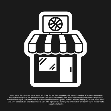 Black Sports shop and basketball ball icon isolated on black background. Sport store. Vector Illustration