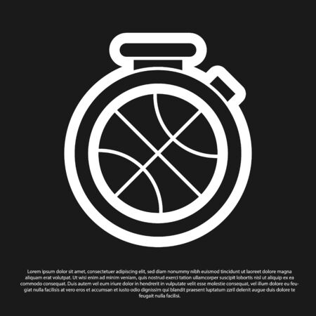 Black Stopwatch with basketball ball inside icon isolated on black background. Basketball time. Sport and training. Vector Illustration Stok Fotoğraf - 134825421