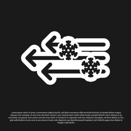 Black Wind and snow icon isolated on black background. Windy weather. Vector Illustration