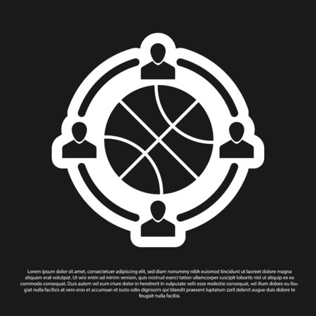 Black Clock with basketball ball inside icon isolated on black background. Basketball time. Sport and training. Vector Illustration Stok Fotoğraf - 134825347