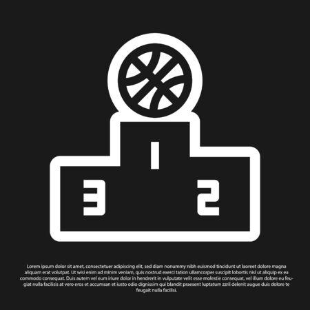 Black Basketball over sports winner podium icon isolated on black background. Vector Illustration Ilustrace