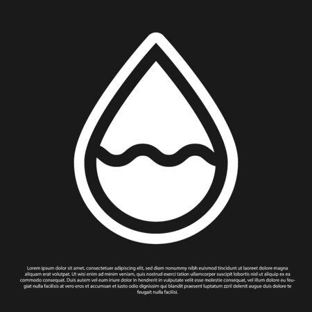 Black Water drop icon isolated on black background. Vector Illustration Standard-Bild - 134825378