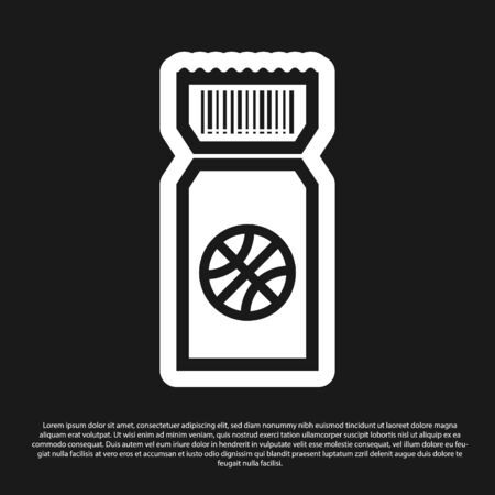 Black Basketball game ticket icon isolated on black background. Vector Illustration Foto de archivo - 134825379