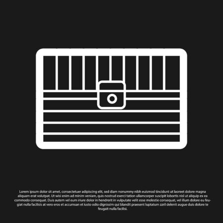 Black Antique treasure chest icon isolated on black background. Vintage wooden chest with golden coin. Vector Illustration Illusztráció