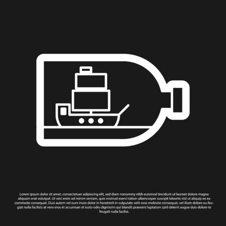 Black Glass bottle with ship inside icon isolated on black background. Miniature model of marine vessel. Hobby and sea theme. Vector Illustration Stock Illustratie