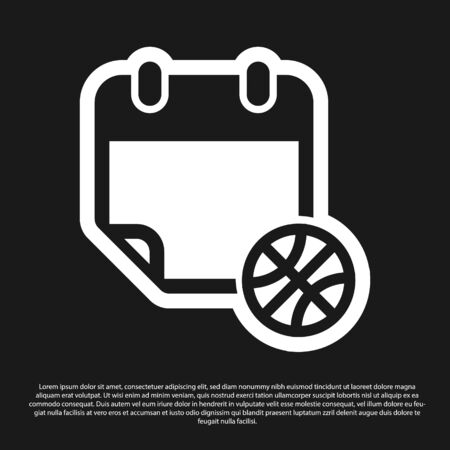 Black Basketball on sport calendar icon isolated on black background. Vector Illustration