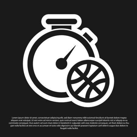 Black Stopwatch with basketball ball inside icon isolated on black background. Basketball time. Sport and training. Vector Illustration Stok Fotoğraf - 134825466