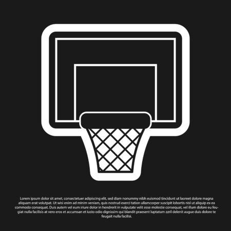 Black Basketball backboard icon isolated on black background. Vector Illustration