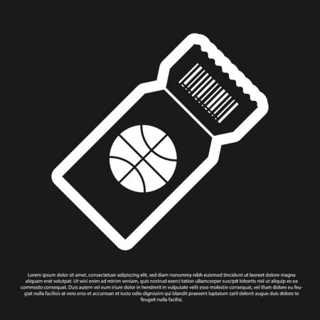 Black Basketball game ticket icon isolated on black background. Vector Illustration Foto de archivo - 134825495
