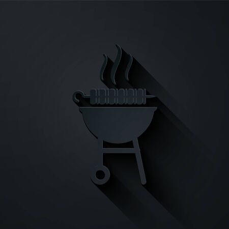 Paper cut Barbecue grilled shish kebab on skewer stick icon isolated on black background. BBQ meat kebab on skewer stick. Picnic with grill meat. Paper art style. Vector Illustration