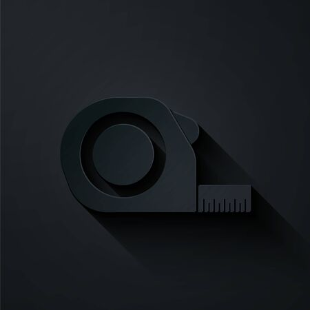 Paper cut Roulette construction icon isolated on black background. Tape measure symbol. Paper art style. Vector Illustration