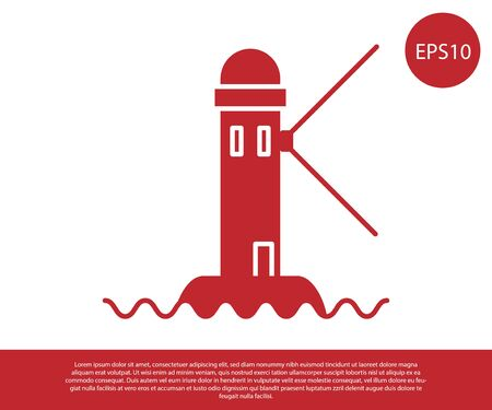 Red Lighthouse icon isolated on white background. Vector Illustration Reklamní fotografie - 134860689
