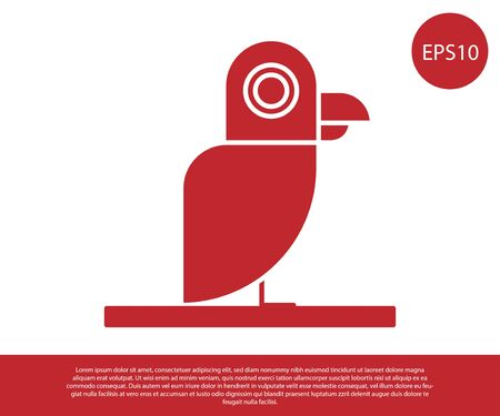 Red Pirate parrot icon isolated on white background. Vector Illustration Illustration
