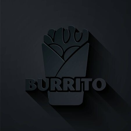 Paper cut Burrito icon isolated on black background. Traditional mexican fast food. Paper art style. Vector Illustration