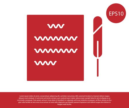 Red Feather pen and paper scroll icon isolated on white background. Vector Illustration