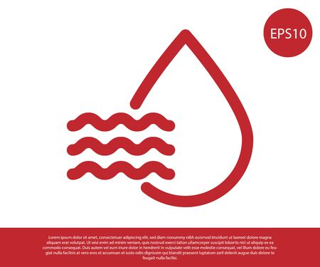 Red Water drop percentage icon isolated on white background. Humidity analysis. Vector Illustration