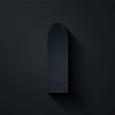 Paper cut Dildo vibrator for sex games icon isolated on black background. Sex toy for adult. Vaginal exercise machines for intimate. Paper art style. Vector Illustration Иллюстрация