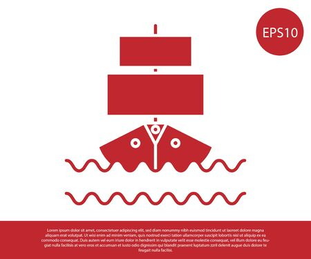 Red Ship icon isolated on white background. Vector Illustration 向量圖像
