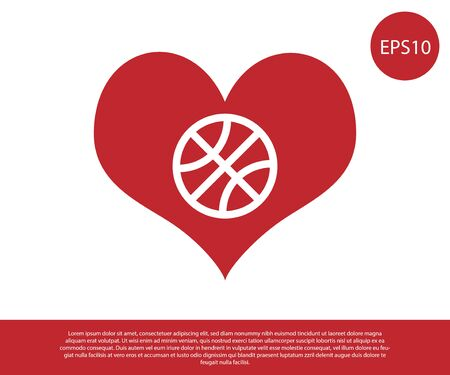 Red Heart with basketball ball inside icon isolated on white background. Basketball love. Vector Illustration Foto de archivo - 134861092