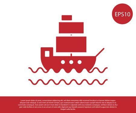 Red Ship icon isolated on white background. Vector Illustration Ilustracja